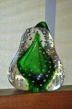 VTG LEFTON  CLEAR ART GLASS PEAR PAPERWEIGHT CONTROLLED BUBBLES WITH STICKER