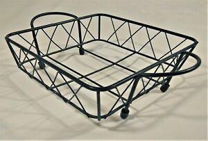 "Bread Basket Bowl Dish Metal Wire 9"" Rustic Kitchen Household Decor Square Black"