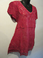 Top Fits XL 1X 2X Plus Tunic Pink Sequins V Neck Lace Sleeve Hem A Shape NWT 774