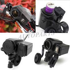12V Motorcycle Phone GPS USB Power Cigarette Lighter Charger Socket Port Outlet