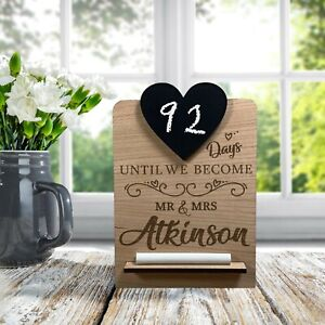 Personalised Wedding Countdown Chalk Plaque Sign, Engagement Gift for Mr & Mrs