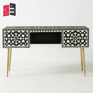 Bone Inlay Moroccan Design 2 Drawers Console Table Black (MADE TO ORDER