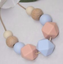 Silicone sensory (was teething) necklace jewellery baby tapuu  blue wood nursing
