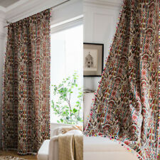 Indian Curtains Hippie Curtain Bohemian Bedroom Window Drape Jacquard Tassel Pom