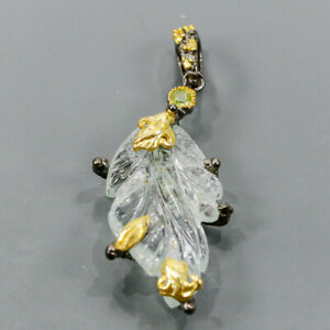 Jewelry Art Unique Aquamarine Pendant Silver 925 Sterling  /NP14851