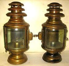 PAIR GRAY & DAVIS 10 CYLINDRICAL BRASS SIDE LAMPS STUDEBAKER GARFORD ALCO