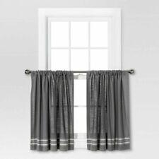 Curtain Tiers - Gray w/ Stripe 36.0 inches (L) x 42.0 inches (W) - Threshold