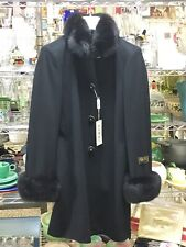 Anpel Wool/cashmere Coat With Black Fox Trim Made In Italy Size 48