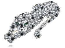 Crystal Rhinestone Silver tone Fierce Looking Cougar Animal Leopard Pin Brooch