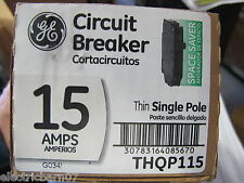 Ge Thqp115, Thin 15 Amp 1 Pole Circuit Breaker- New