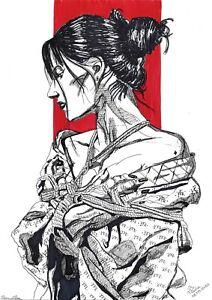 original drawing A3 84PV art by samovar Ink female Portrait modern Signed