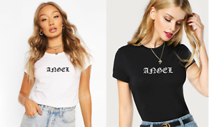 Women's ANGEL Slim Fit Printed Fashion T-Shirt Basic Casual Everyday Style Top