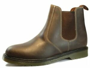 Oaktrak Winterhill Chocolate Brown Chelsea Ankle Boots Pull On Mens Leather