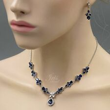 White Gold Sapphire Blue Zirconia CZ Necklace Earrings Wedding Jewelry Set 00561