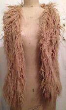 Light Brown Beige Cream Furry Gilet Body warmer Waistcoat Jacket Size 10/12 S/M