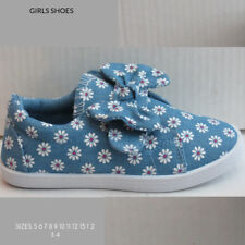 CHILDRENS GIRLS FLAT CANVAS SHOES ( BLUE DAISYS )  SIZE 8 9 10 11 12 13 1 2 3 4