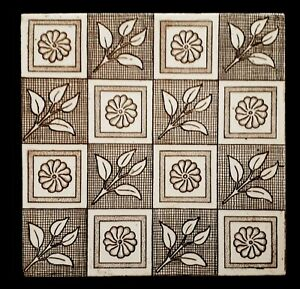 Arts & Crafts Tile (8 x 8 inch) T R Boote. Date 1905.