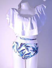 Fashion women's bathing suit 2 pieces ruffle top bat wing size L