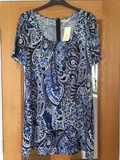 Ladies Blue Paisley Boho Hippy Style Tunic Dress Size Large By Sandy Beach