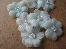 Mini Chiffon Daisy Head with Sequin & Bead Centre - Pack of 5 - Pale Blue