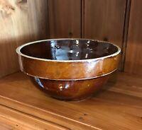"Vintage Country Farmhouse Stoneware Chocolate Brown Glaze 7"" Mixing Bowl 1930s"