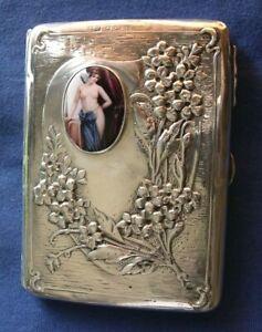 522-Antique sterling silver enamel cigarette case/ wallet