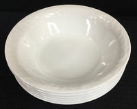 "Corelle Bella Faenza White Embossed Set of 6 Soup Cereal Bowls 7.25"" Made in USA"