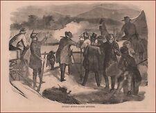 Turkey Shooting, Holiday, antique engraving, print, original 1867