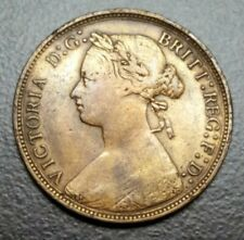 1877 GREAT BRITAIN 1/2 HALF PENNY QUEEN VICTORIA 159 YEARS OLD BRONZE COIN KM748