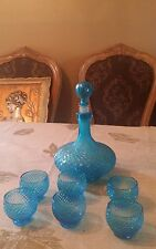 ART GLASS DECANTER VINTAGE BOTTLE AND 6 SHOT GLASSES BLUE  ITALIAN