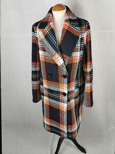 Ladies Coat Size 14 NEXT Navy Orange Check Smart Overcoat Winter