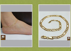 """Real 10K Yellow Gold Anklet 10"""" Inch Diamond Cut Link Ladies 4mm Lobster Rope"""
