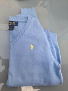 Genuine Ralph Lauren V Neck Jumper Blue Age 10-12 Excellent Condition