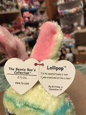 "Ty LOLLIPOP -Pastel Tie-Dyed Swirls Easter Rabbit 10"" Beanie Boo Buddy! *NEW*"