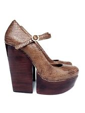 Alice & Olivia Brown Snake Leather Platform High Wedge Ankle Strap Heels 7.5