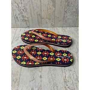 Vera Bradley Flip Flops Slippers Womens 5-6 Multicolor Geometric Slip On