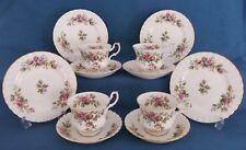 BEAUTIFUL ROYAL ALBERT MOSS ROSE TEA SET PINK ROSES 4 TRIOS CHINA ENGLAND UNUSED