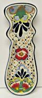 Beautiful Traditional Mexican Folk Art La Flor Talavera Pottery Spoon Rest