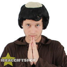 BROWN MONK WIG RELIGIOUS ADULTS FANCY DRESS ACCESSORY FRIAR MEDIEVAL BALD HAIR