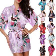 Women Plain Silk Satin Robes Bridal Wedding Bridesmaid-Bride Kimono Robe Gown.