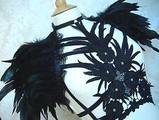 Gothic Steampunk Burlesque JET BLACK brevemente piuma e pizzo BOA Coprispalle Bolero