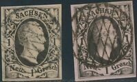 SACHSEN 1851, 1 Ngr. Type I und II, 2 vollrandige gest. Kab.-Stücke, ABART!!