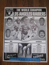 "Original 1984 NFL Los Angeles Raiders Schedule Promo Poster 18 X 22"" World Champ"