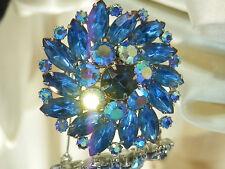 Stunning Weiss Signed Vintage 50's Blue Rhinestone Navette Flower Brooch 303j7
