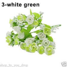 Blanco Verde Rosa grupo 21 Cabeza Artificial Flor Fiesta Decoración Boda jarrón pantalla