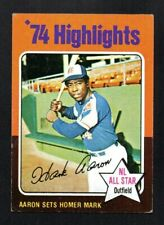 HANK AARON  braves HIGHLIGHTS  1975 TOPPS MINI  #1 VG-EXCELLENT NO CREASES