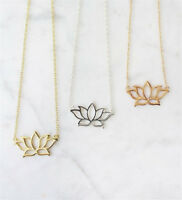 Unique Lotus Flower Charm Necklace Pendant Collares Beautiful Jewelry Women Gift