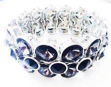 USA Bracelet Rhinestone Crystal Adjustable Bangle Black Party Fashion