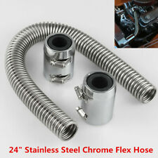 "Flexible 24"" Stainless Steel Upper or Lower Radiator Hose Kit with Chrome Caps"