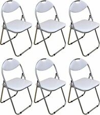 6 x Harbour Housewares White Padded, Folding, Desk, Guest Chairs